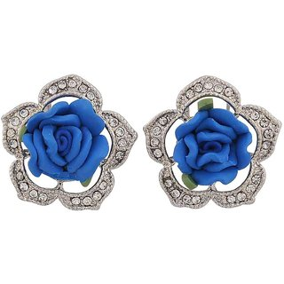 Maayra Unique Blue Green Designer College Clip On Earrings