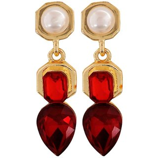 Maayra Stunning Red White Kundan Cocktail Drop Earrings