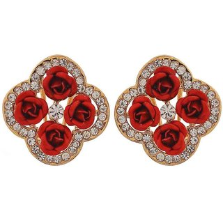 Maayra Great Red Designer Get-Together Clip On Earrings