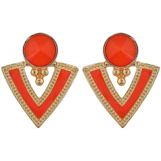 Maayra Fabulous Orange Gold Designer Get-Together Drop Earrings