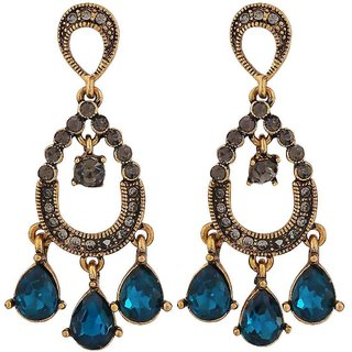 Maayra Sizzling Blue Gold Kundan Party Drop Earrings