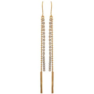 Maayra Stunning Gold Stone Crystals Cocktail Dangler Earrings