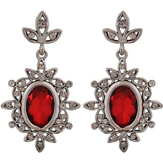 Maayra Shining Red Silver Stone Crystals Get-Together Drop Earrings