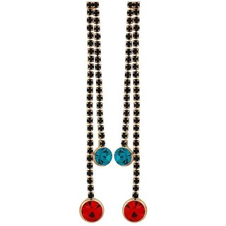 Maayra Pretty Red Green Stone Crystals Casualwear Drop Earrings