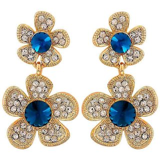 Maayra Elegant Blue Stone Crystals Party Drop Earrings
