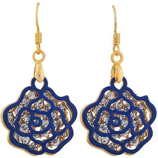 Maayra Classic Blue Gold Stone Crystals Cocktail Dangler Earrings
