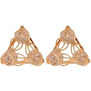 Maayra Stylish Gold Stone Crystals Casualwear Stud Earrings