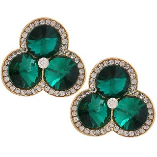 Maayra Exclusive Green Stone Crystals College Clip On Earrings