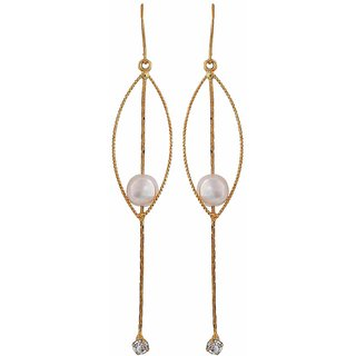 Maayra Artistic White Gold Pearl Casualwear Dangler Earrings