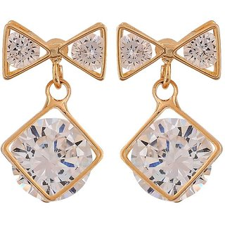 Maayra Lovely Gold Stone Crystals College Drop Earrings