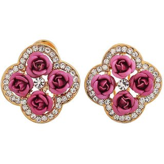 Maayra Posh Purple Gold Stone Crystals College Clip On Earrings