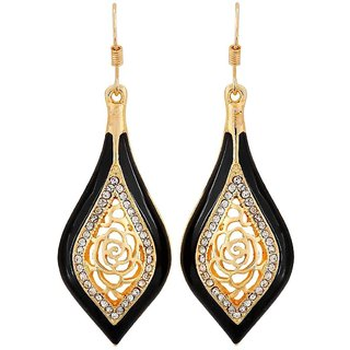 Maayra Bright Black Gold Designer Party Dangler Earrings