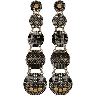Maayra Grand Orange Gold Designer Cocktail Drop Earrings