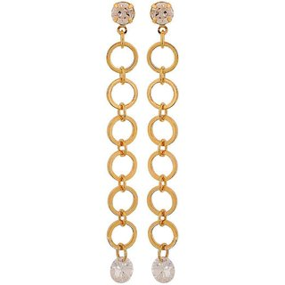 Maayra Bright Gold Designer Party Tassel Earrings