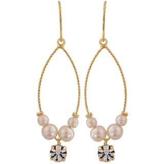Maayra Classy White Gold Pearl Get-Together Dangler Earrings