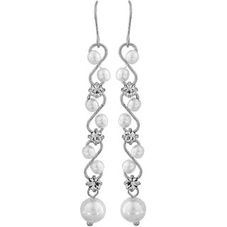 Maayra Superb White Silver Pearl Get-Together Dangler Earrings