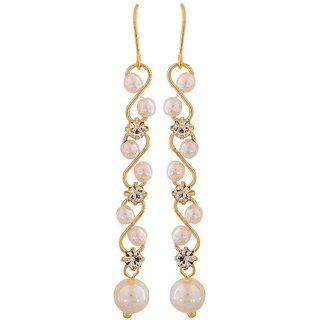 Maayra Amazing White Gold Pearl Casualwear Dangler Earrings