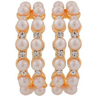 Maayra Sober White Gold Pearl Get-Together Drop Earrings
