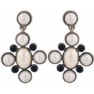 Maayra Darling White Blue Pearl Party Drop Earrings