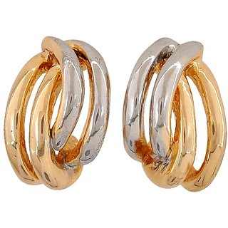 Maayra Sensual Gold Silver Designer Get-Together Stud Earrings