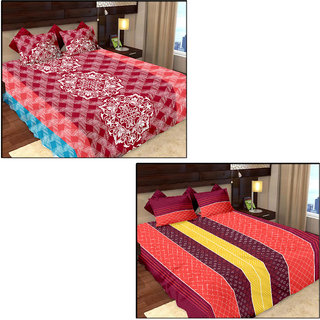 Story@Home 100 Cotton 2 Double Bedsheet With 4 Pillow Cover - Mp1207-1208