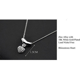 M-Aemilius Brands White Gold Plated Rhinestones Heart Shaped Pendant Necklace