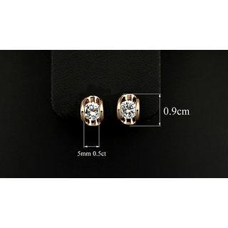 M-Aemilius Brands 18KRGP Gold Plated 0.5 Carat Cubic Zirconia Stone Stud Earring