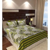Home  Elegant Cotton Double Bedsheet with 2 Pillow