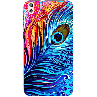 Jugaaduu Peacock Feather Back Cover Case For HTC Desire 816G - J1070773