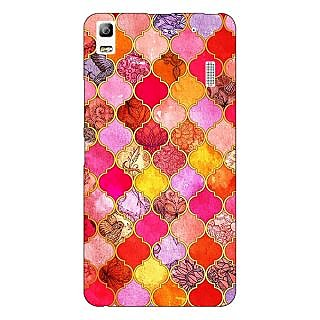 Jugaaduu Red Moroccan Tiles Pattern Back Cover Case For Lenovo K3 Note - J1120289