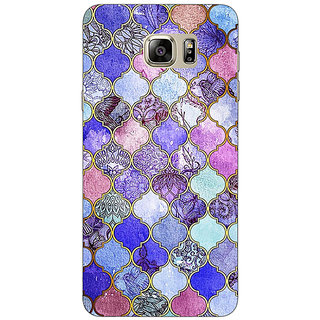 Jugaaduu Purple Moroccan Tiles Pattern Back Cover Case For Samsung S6 Edge+ - J900291