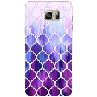 Jugaaduu White Purple Moroccan Tiles Pattern Back Cover Case For Samsung S6 Edge+ - J900297
