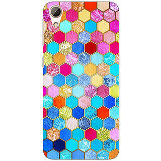 Jugaaduu Coloured Hexagon Pattern Back Cover Case For HTC Desire 626G - J930225