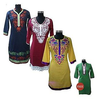 Stylish embroidered Kurtas by Anksh - Pack of 3 + 1 Free Kurtha