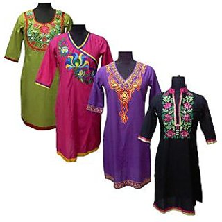 Pack of 4 Embroidered Kurtas by Asmitas