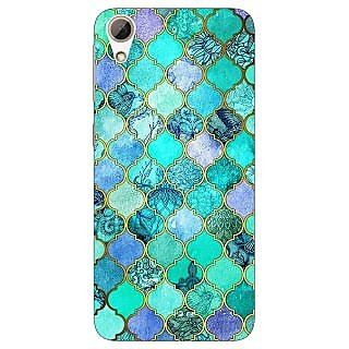 Jugaaduu Sky Blue Morocan Tiles Pattern Back Cover Case For HTC Desire 626G - J930292
