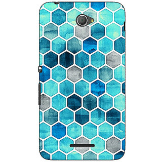 Jugaaduu Blue Hexagons Pattern Back Cover Case For Sony Xperia E4 - J620270