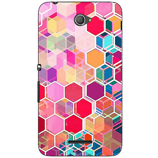 Jugaaduu Red Blue Hexagons Pattern Back Cover Case For Sony Xperia E4 - J620274