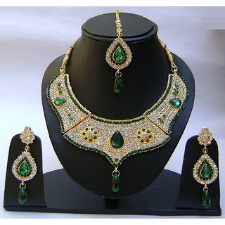 Gold Plated Wedding Party Necklace Earrings Women's Fashion Jewelry Set. JVS1720
