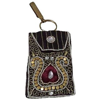 Raw SilK Black Moblie Pouch Coin Bag