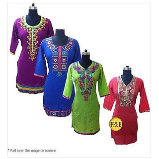 Stylish embroidered Kurtas by Anksh - Pack of 3 + 1 Free Kurtha (Size: XXL)