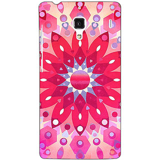 Jugaaduu Red Flower Pattern Back Cover Case For Redmi 1S - J250256