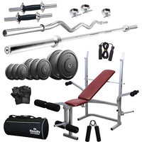 Headly 82Kg Efficient Home Gym + 14 Dumbbells + 2 Rods + Imported 6 In 1 (Inclined/ Declined/ Flat/ Leg Extension/ Leg Press/ Chest Fly) Multipurpose Bench + Gym Bag + Accessories