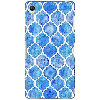 Jugaaduu White Blue Moroccan Tiles Pattern Back Cover Case For Sony Xperia Z3 - J260296