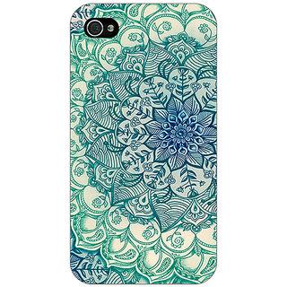 Jugaaduu Emerald Doodle Pattern Back Cover Case For Apple iPhone 4 - J10216