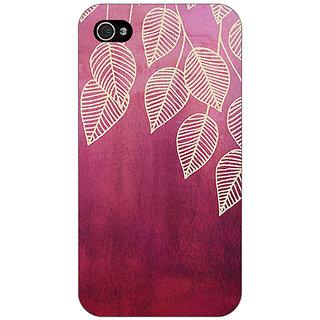 Jugaaduu Golden Leaves Pattern Back Cover Case For Apple iPhone 4 - J10217