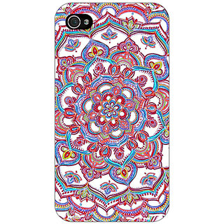 Jugaaduu Flower Circles Pattern Back Cover Case For Apple iPhone 4 - J10230