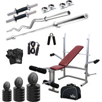 Headly 82Kg Total Fitness Home Gym + 14 Dumbbells + 2 Rods + Imported 6 In 1 (Inclined/ Declined/ Flat/ Leg Extension/ Leg Press/ Chest Fly) Multipurpose Bench + Gym Bag + Accessories