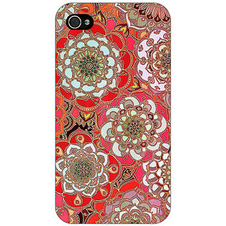 Jugaaduu Orange Flowers Pattern Back Cover Case For Apple iPhone 4 - J10258