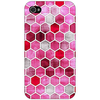 Jugaaduu Red Hexagons Pattern Back Cover Case For Apple iPhone 4 - J10269